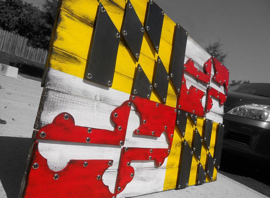 3D Maryland Flag - reclaimed wood - 3D Maryland Flag - Reclaimed Wood Integrity Wood Design