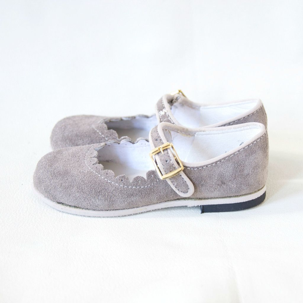 grey mary janes for girls with scalloped edge