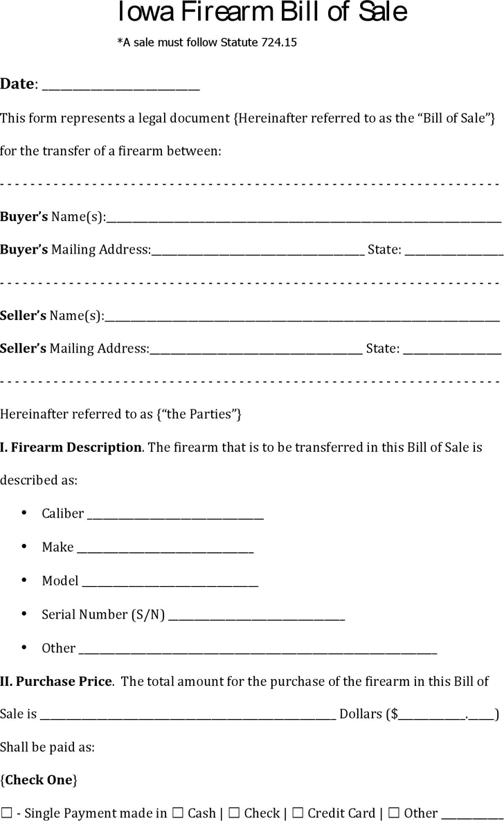 Iowa Firearm Bill Of Sale Download The Free Printable Basic Bill Of Sale Blank Form Template In Microsoft Word Excel Templates Bill Of Sale Template Bills