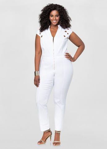 grommet detail denim jumpsuit | white haute | pinterest | detail
