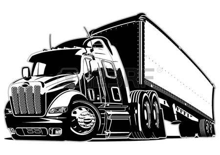 Truck Cartoon Semi Truck Illustration With Images Semi Trucks