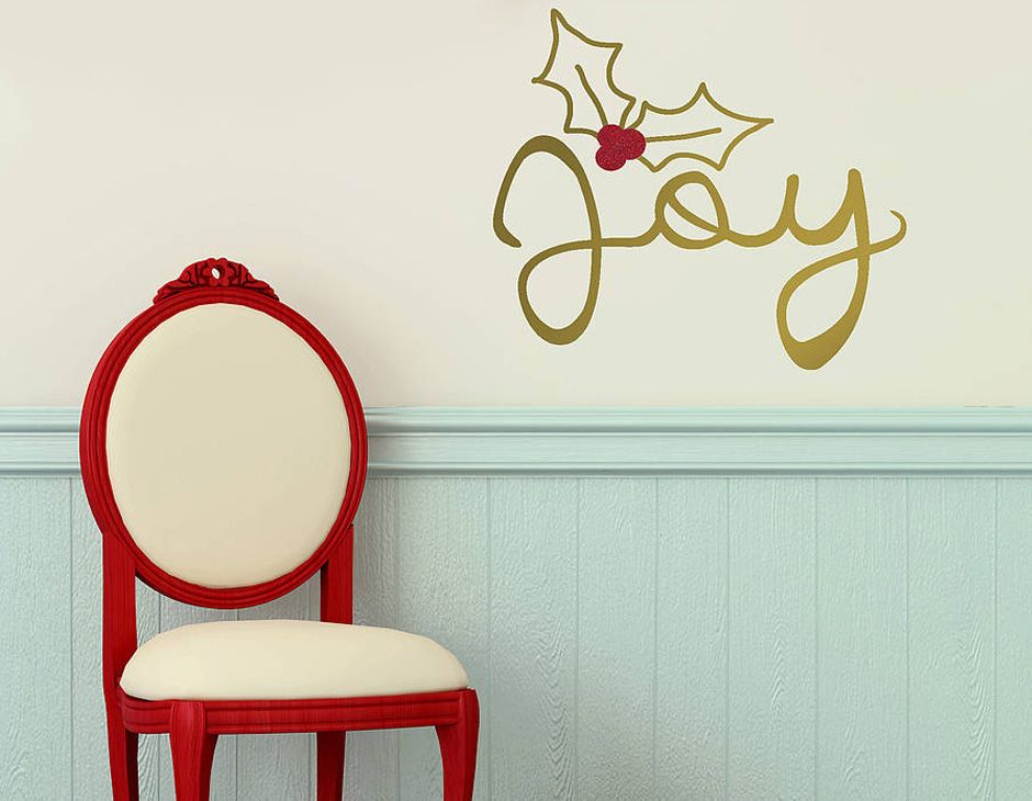 Joy christmasa gold wall sticker contemporary stickers parkins interiors personalised christmas family