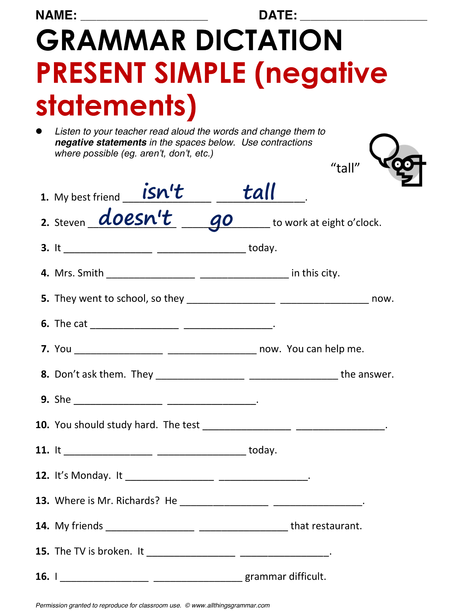 Present Continuous Tense Negative Worksheet