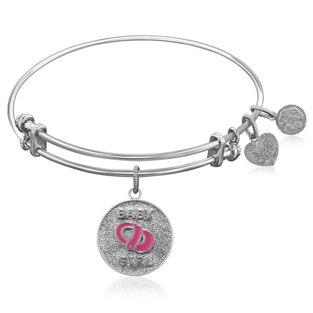Expandable bangle in white tone brass with baby girl symbol style