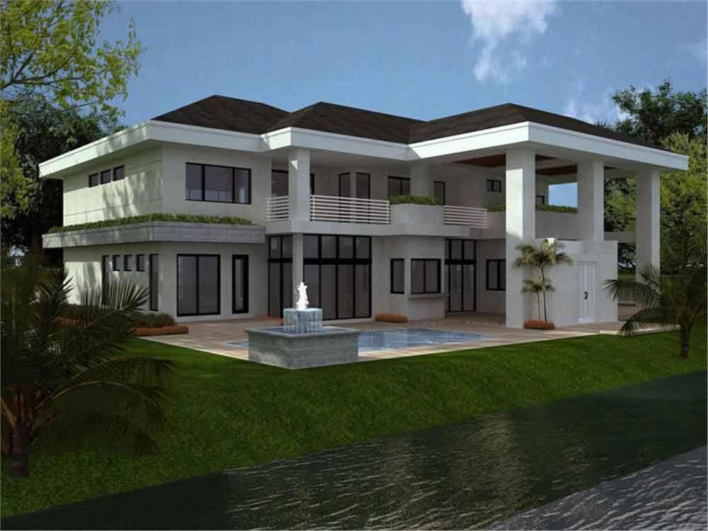 Planos y fachada de una casa habitaci n moderna de 2 for Planos de casa habitacion