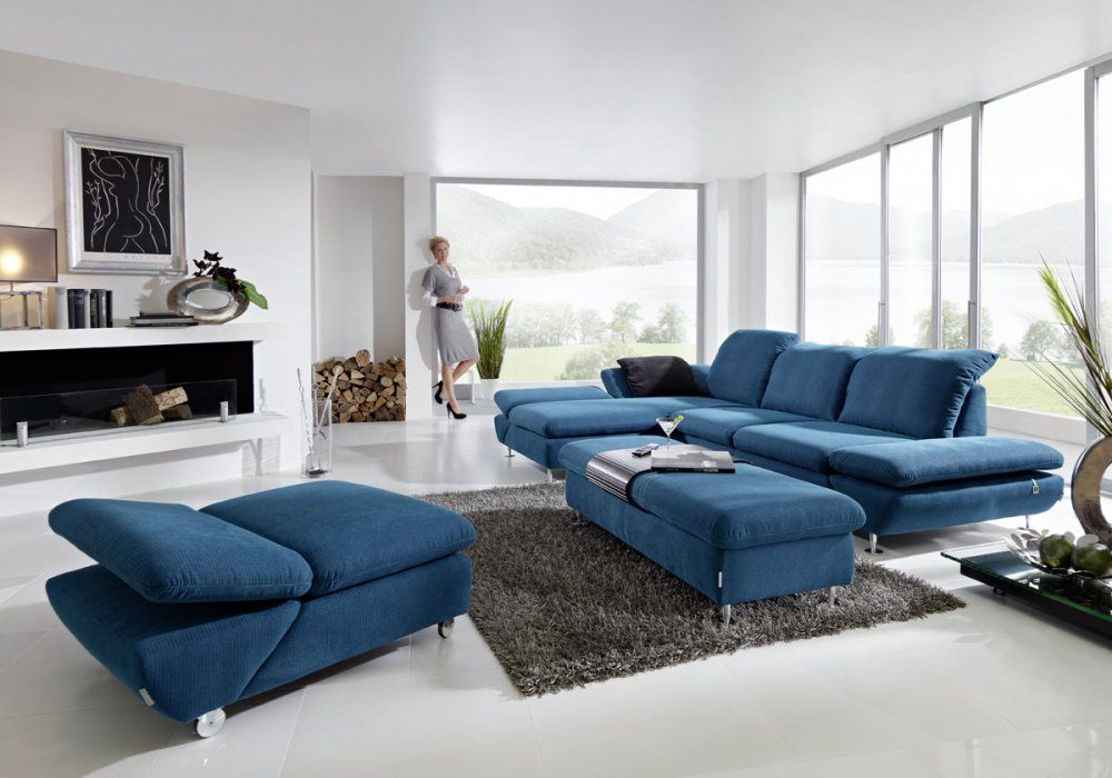 willi schillig blaues textilsofa sofalandschaft mit verstellbaren kopflehnen m bel mit www. Black Bedroom Furniture Sets. Home Design Ideas