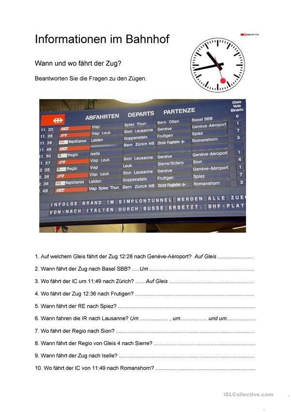 Informationen im Bahnhof Tysk kurs Deutsch, Deutsch