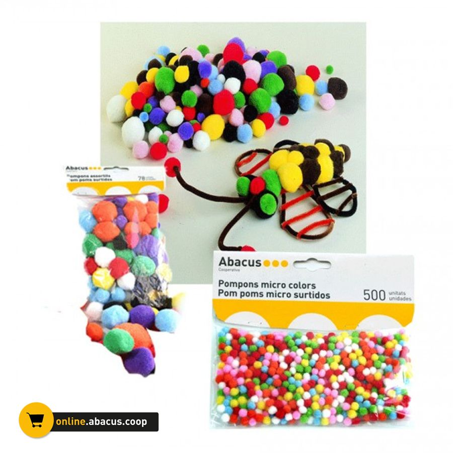 Pompons multicolors per enfilar o enganxar. Els mitjans i els micro són marca Abacus. http://ow.ly/KYbYO