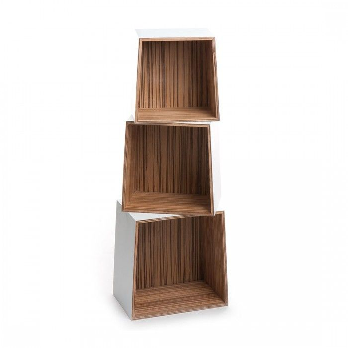 Set 3 Cubes Trapezio White By Tomasucci Slaapkamer