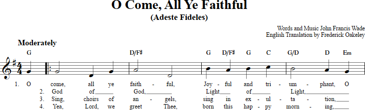 O Come All Ye Faithful Sheet Music With Chords And Lyrics For C