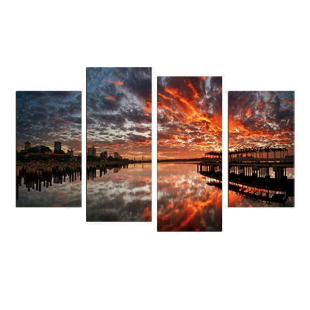 4 Pcs Combined Canvas Printed Clouds And Rivers Landscape Paintings Canvas
