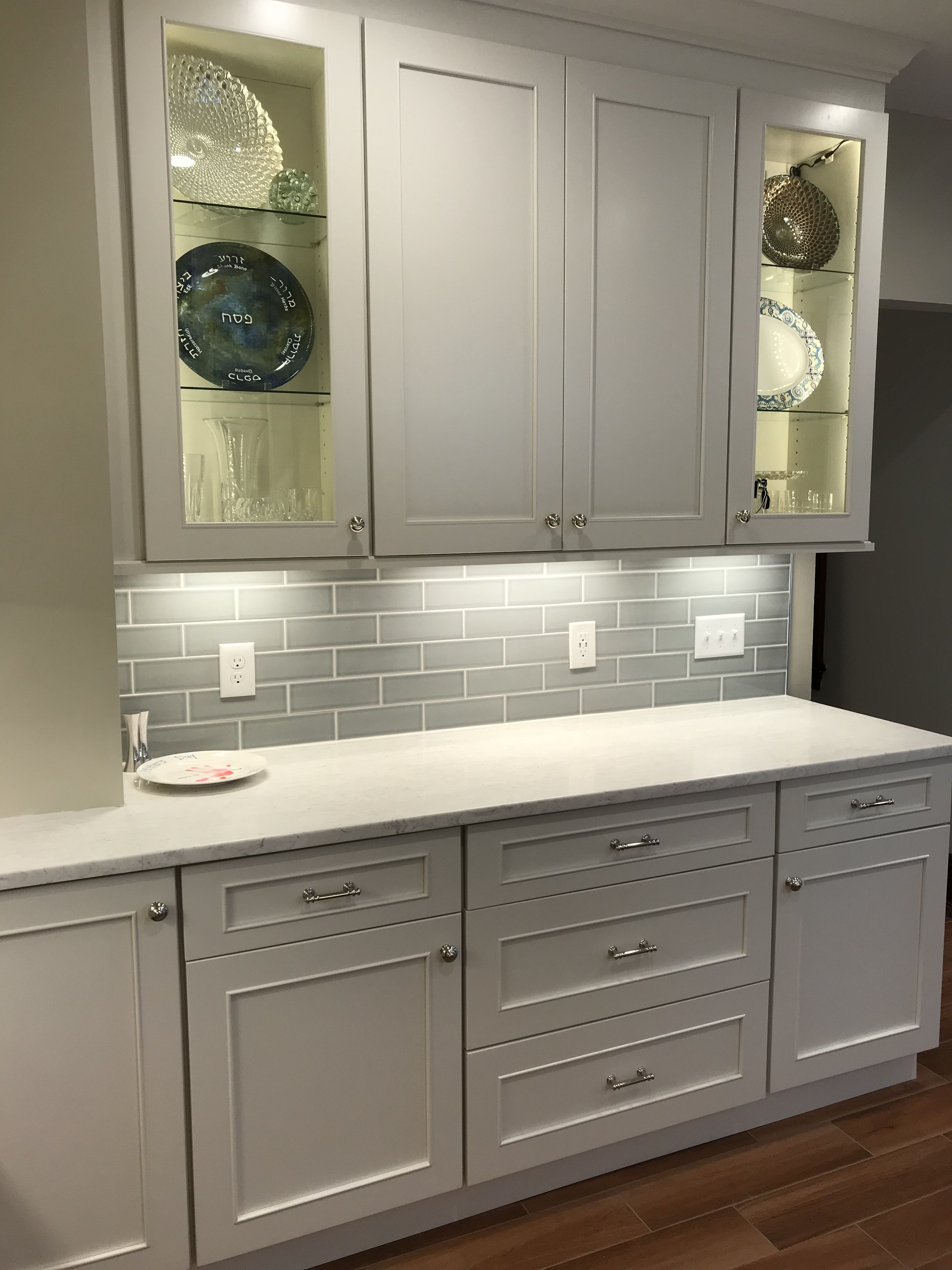 Kitchen Renovation Complete Rutherford Nj Fabuwood Vista Blanc Cabinets Countertop Is Timber White Trendy Kitchen Tile Kitchen Renovation Wood Tile Kitchen