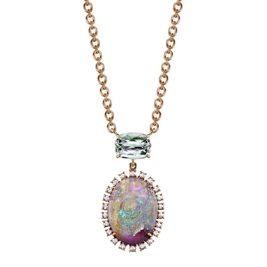 Irene Neuwirth Diamond, tourmaline & rose-gold necklace