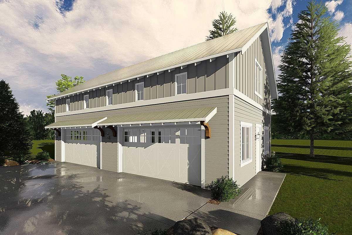 Plan 62593dj 4 Car Garage With Indoor Basketball Court Indoor Basketball Court Garage Door Design High Walls