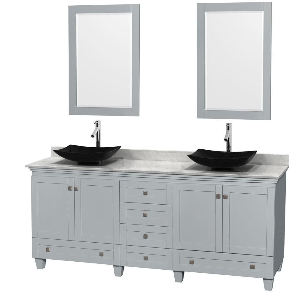 Acclaim 80 Inch W 6 Drawer 4 Door Vanity With Marble Top In White