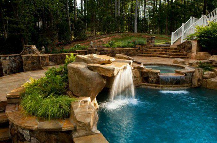 1001 mod les spectaculaires de piscine avec cascade piscines de r ve plantes vertes et piscines. Black Bedroom Furniture Sets. Home Design Ideas
