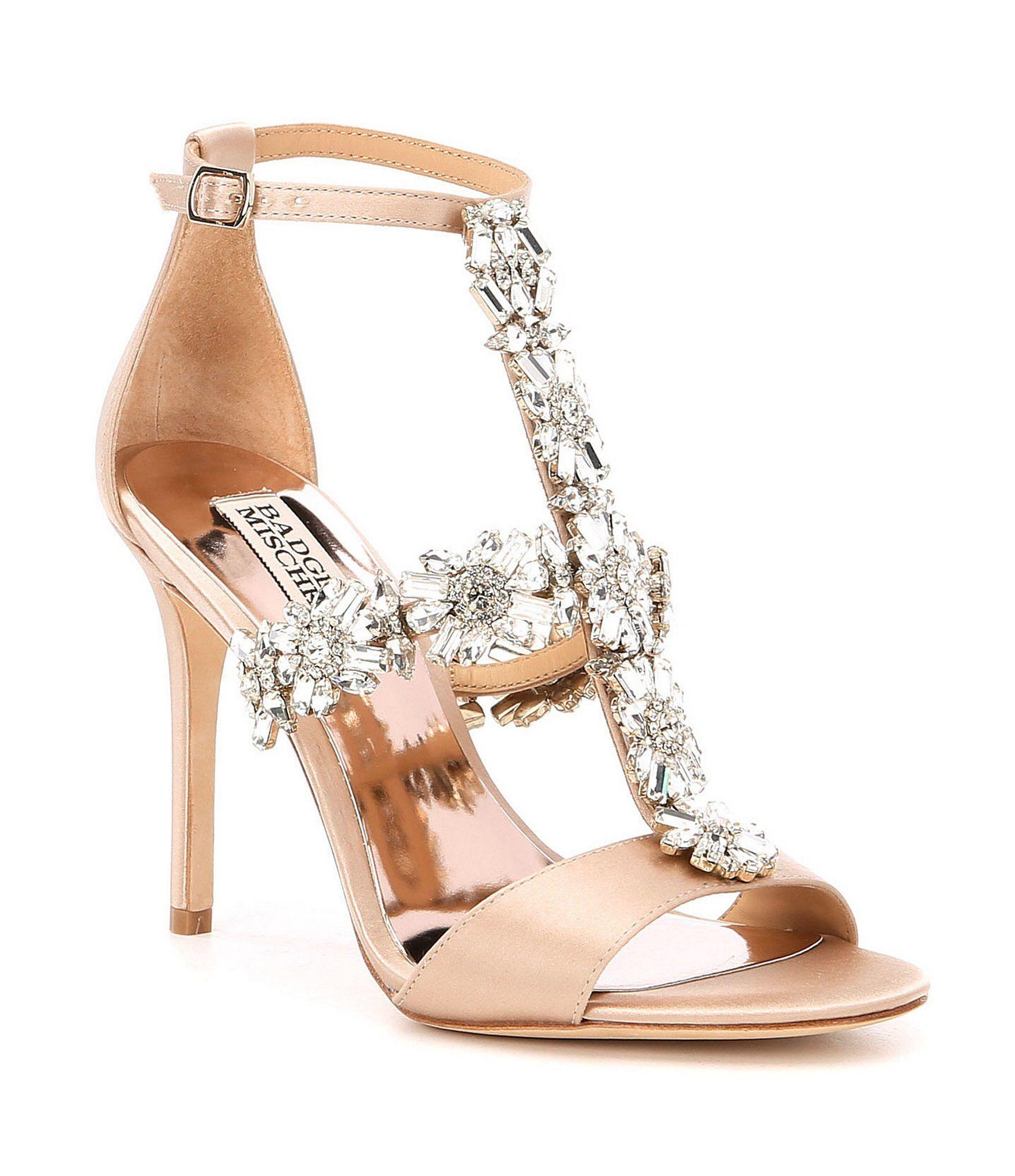 23ce7bceccf Shop for Badgley Mischka Munroe Jeweled Strap Satin Dress Sandals at ...