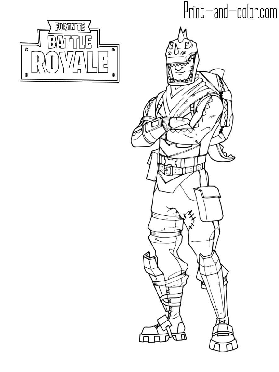 fortnite battle royale coloring page rex