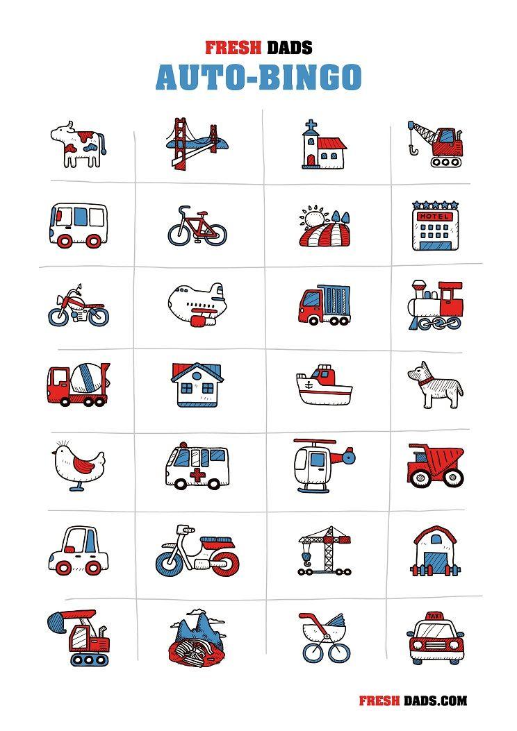 auto bingo f r kinder kostenlos ausdrucken urlaub mit den kids pinterest. Black Bedroom Furniture Sets. Home Design Ideas