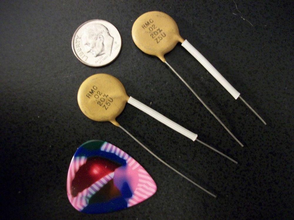 2x Nos 02uf 50v Rmc Dime Size Ceramic Guitar Tone Capacitors Vintage Tone 02 Ceramics Capacitors Vintage