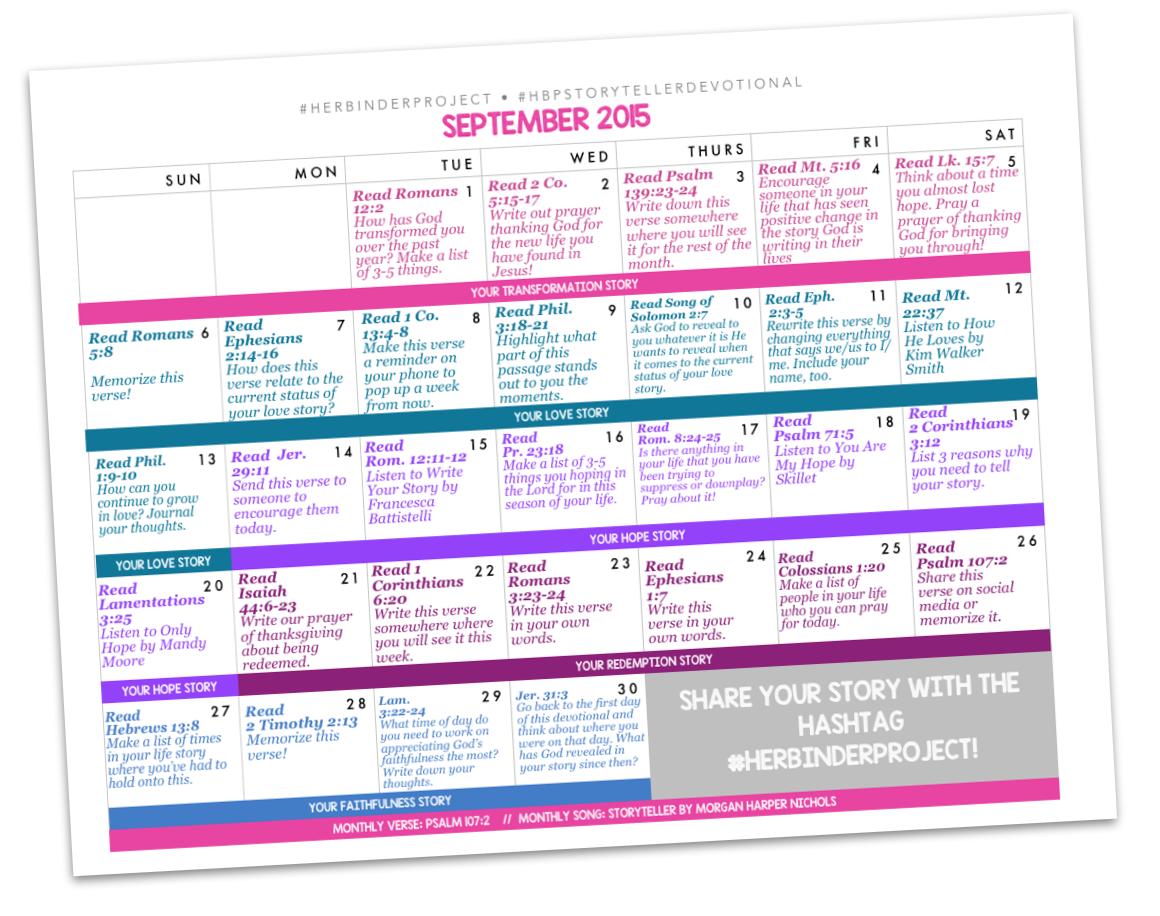 Free 30 Day Devotional Calendar For September For