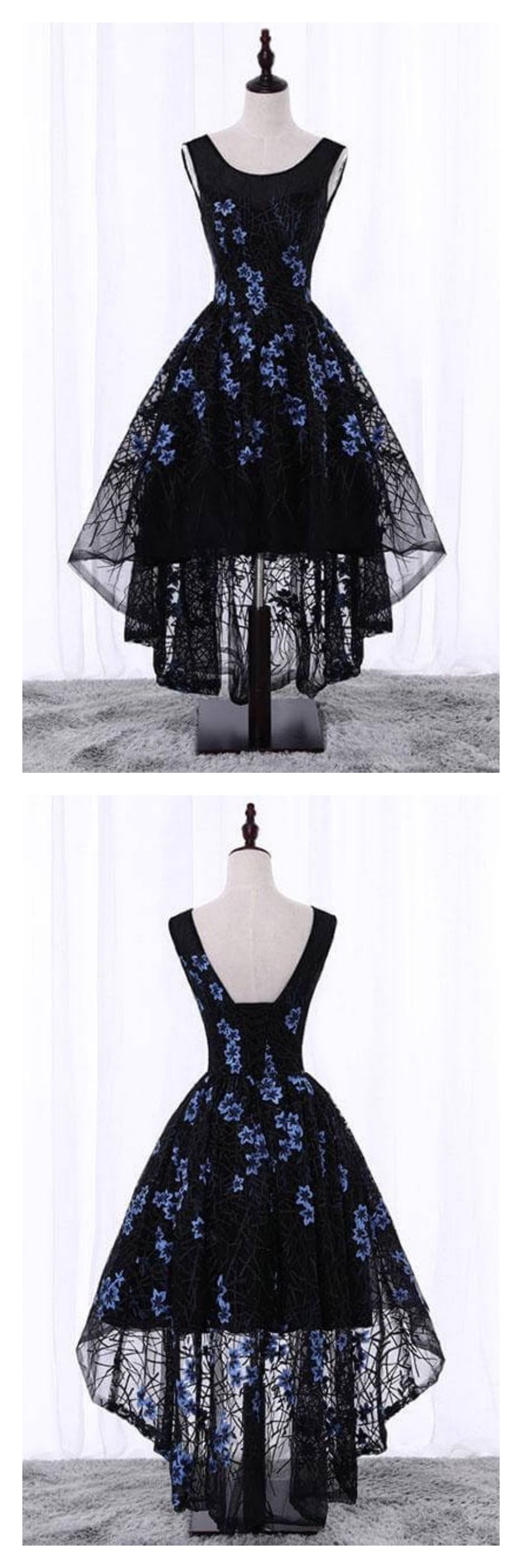 Black high low lace homecoming graduation dressesed cute