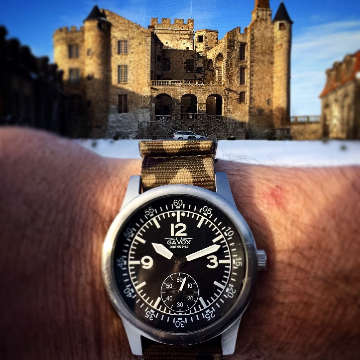 Here's a shot made in front of the French Castel of