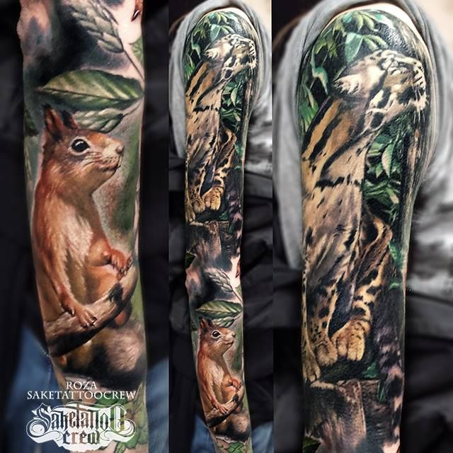 Realistic Sleeve From Roza Realism Realistic Animal Color Sleeve Easy Animal Drawings Animal Paintings Art Tattoo