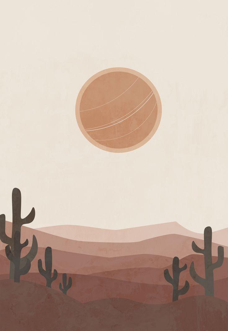 Modern landscape terracotta bohemian desert printable wall art, cactus print, arizona cactus print,