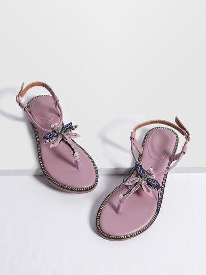 Sandalias planas con detalle de mariposa - rosa  1a18a465f41