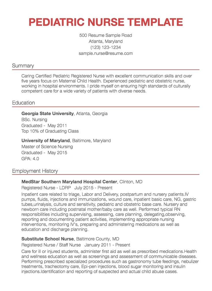 41++ Pediatric registered nurse resume Examples