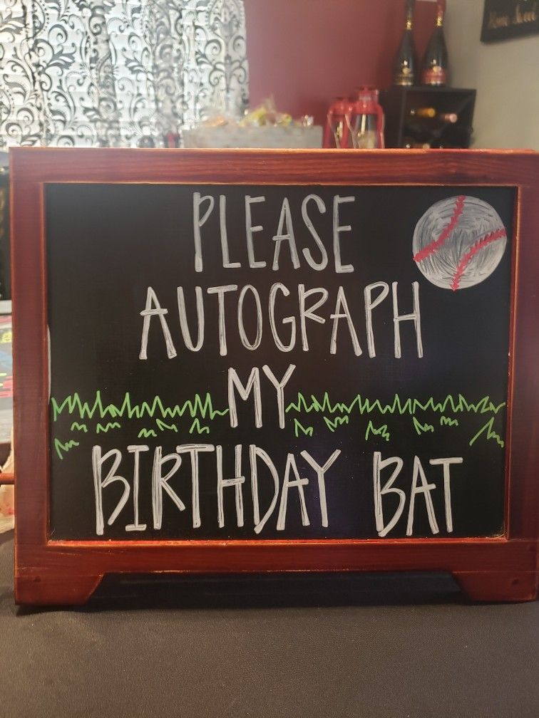 Please Autograph My Birthday Bat Chalkboard Sign baseball
