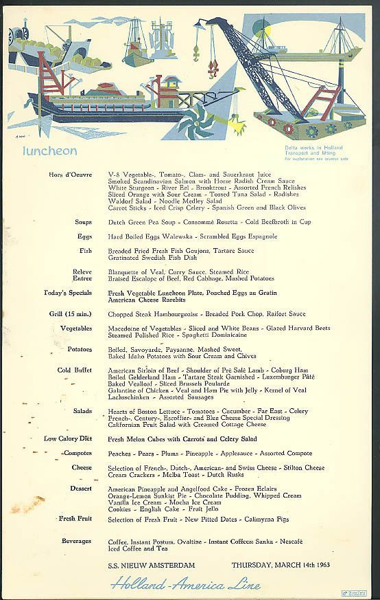 Holland america line s s nieuw amsterdam cat luncheon menu card 313 holland america line s s nieuw amsterdam cat luncheon menu card 313 1963 holland the nieuw amsterdam and holland amerika lijn pinterest holland publicscrutiny Image collections