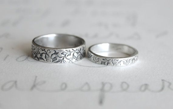 Wedding Band Ring Set Vine Leaf Rings Bands Handmade Silver Engraved By Peacesofindigo