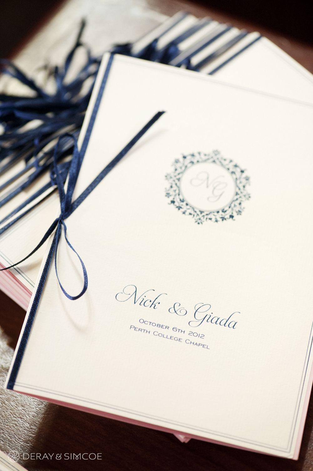 024 Navy Custom Song Booklet Ribbon Church Ceremony Perth College Chapel Uwa Club Wedding Photography