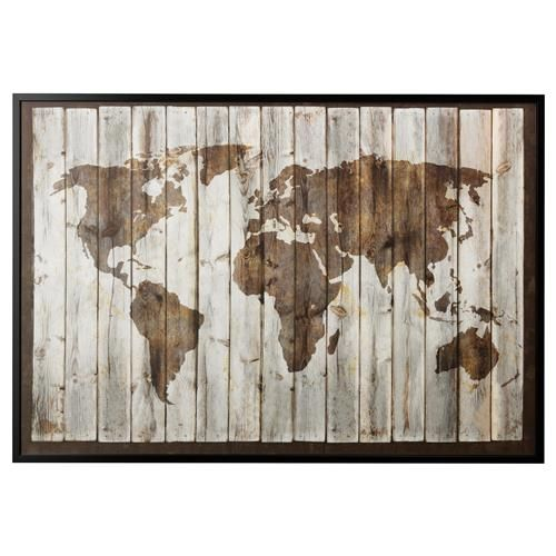 driftwood world map canvas 78 x canvas only no frame