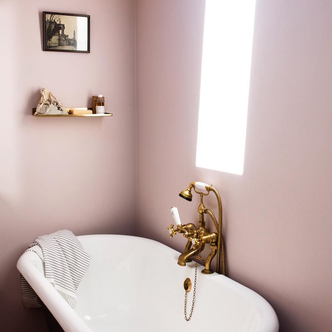 The Lovely Tapware On This Bath Matches The Dusty Pink Walls