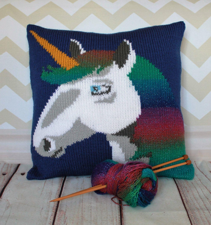 Knitting pattern pdf download una the unicorn pillow cushion cover