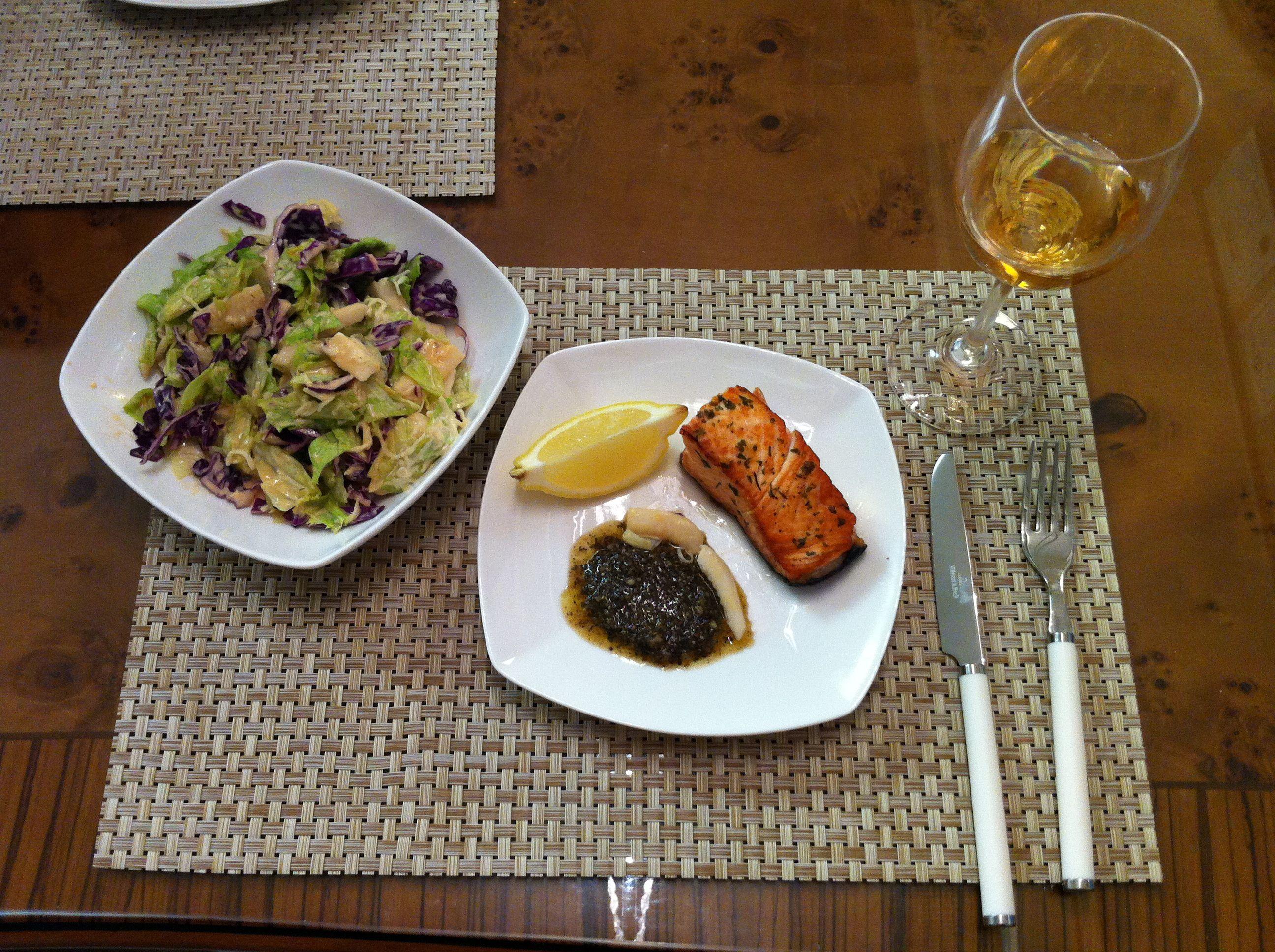 요리: 바질파스토를 곁들인 연어스테이크 + 청도 감와인