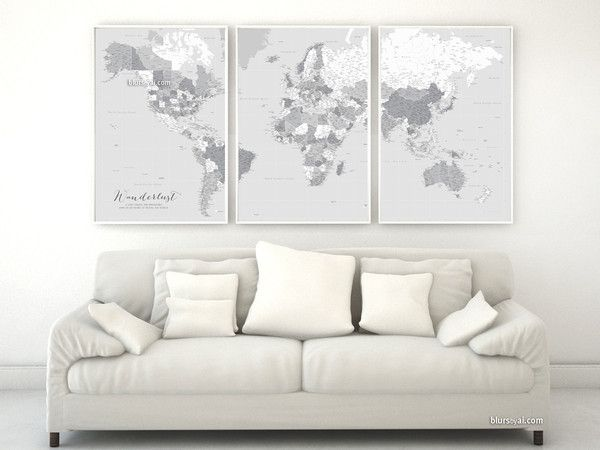 Highly detailed word map poster set in grayscale set of 3 split highly detailed word map poster set in grayscale set of 3 split posters in 24x36 each wanderlust definition gumiabroncs Images