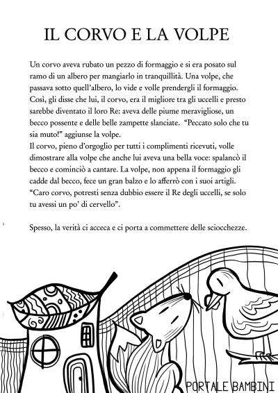 Il Corvo E La Volpe Leggi E Stampa La Favola Portale Bambini Comprensione Della Lettura Lettura Terza Elementare Schede Di Lettura