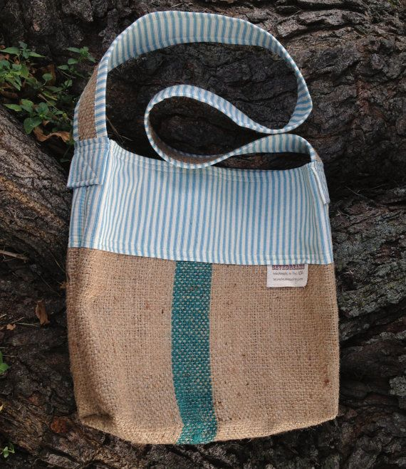 Crossbody Burlap Bucket Bag: Upcycled from Coffee sacks and Teal pillow ticking. FREE SHIPPING on Etsy, $38.00