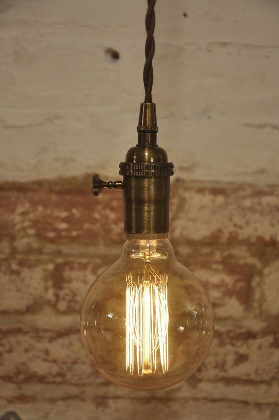 Antique Brass Turn Knob Pendant Light Fixture Hanging Plug in Canopy Vintage on Etsy $34.99 & Antique Brass Turn Knob Pendant Light Fixture Hanging Plug in ...
