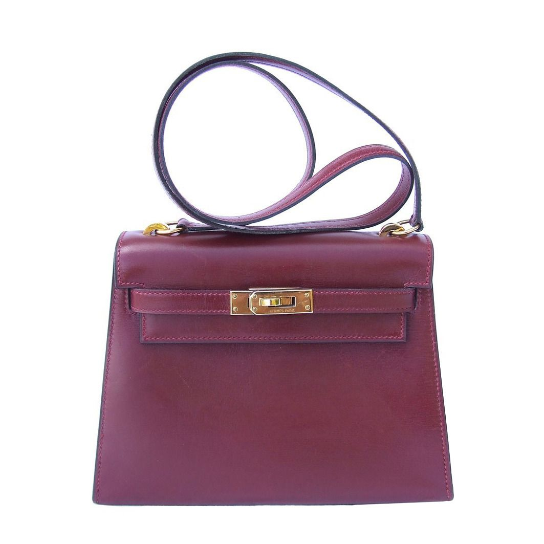 Authentic Hermes Mini Kelly 20 Bag Sellier Rouge H