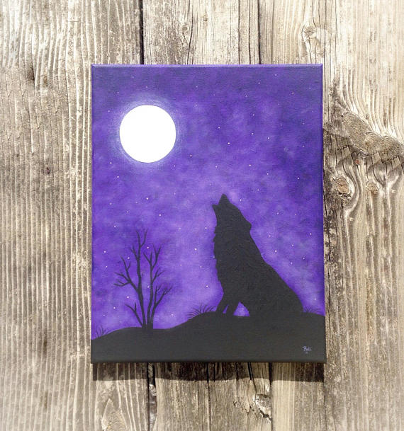 Silhouette Art Wolf Art Purple Wall Decor Silhouette Painting