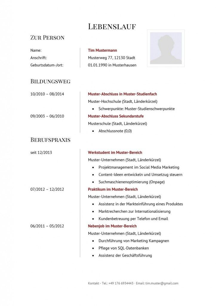 German Style Cv Template With Subtle Red As Free Download