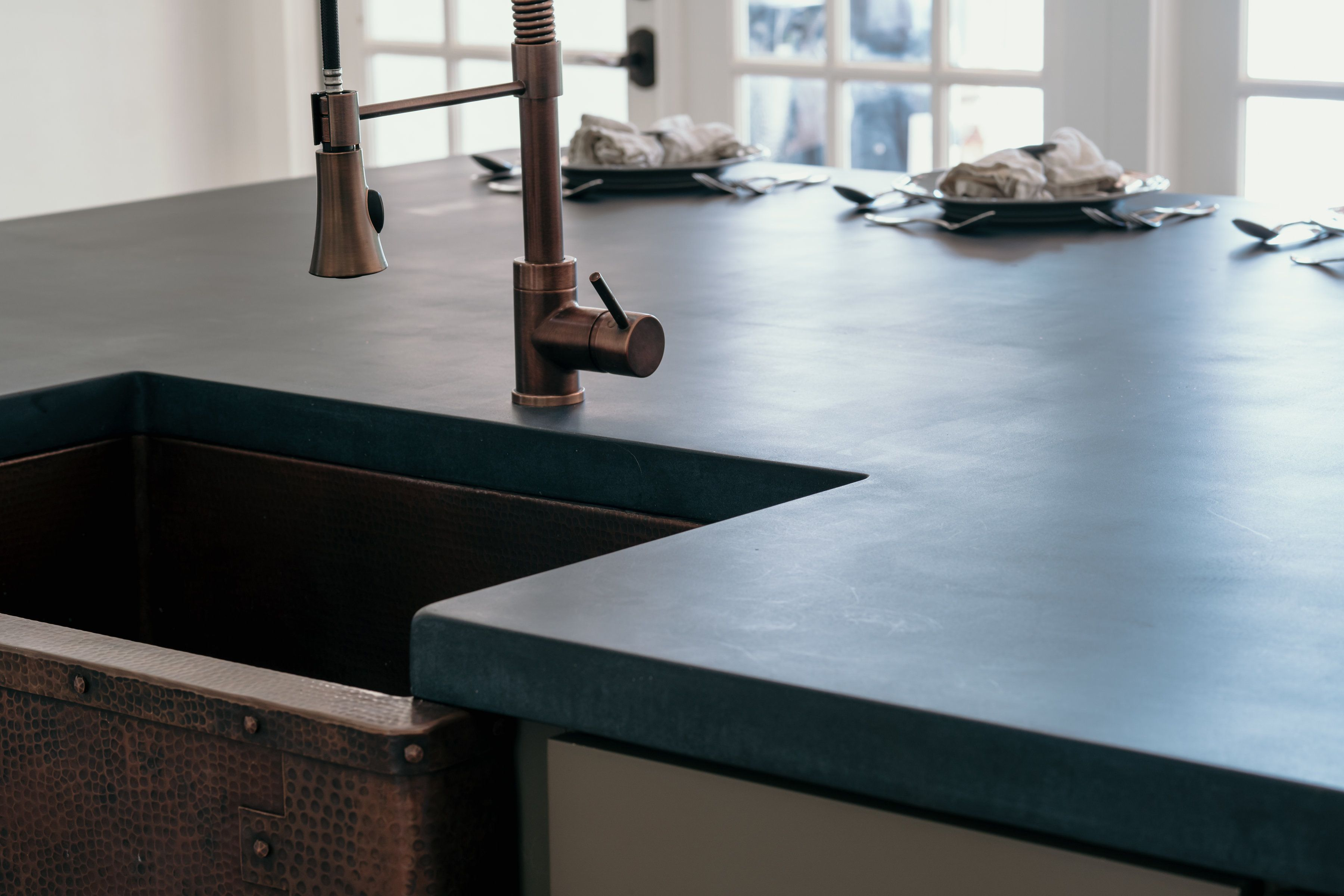 Concrete Countertops Pricing Navy Blue Concrete Kitchen Island With Genuine Copper Shaving