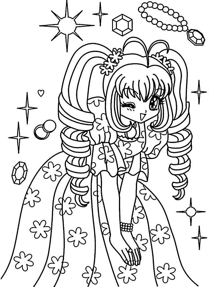 Dibujo de Una Princesa para Colorear con Diseño Anime | Para ...