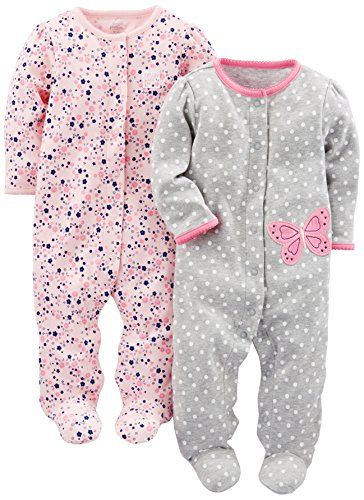 Carters Baby Girls 2-Pack Cotton Footed Pants Floral Pink