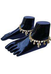 Golden Color and White Kundan Studded Anklet